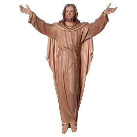 Imágenes de madera natural: Estatua Cristo Resucitado bruñido 3 colores