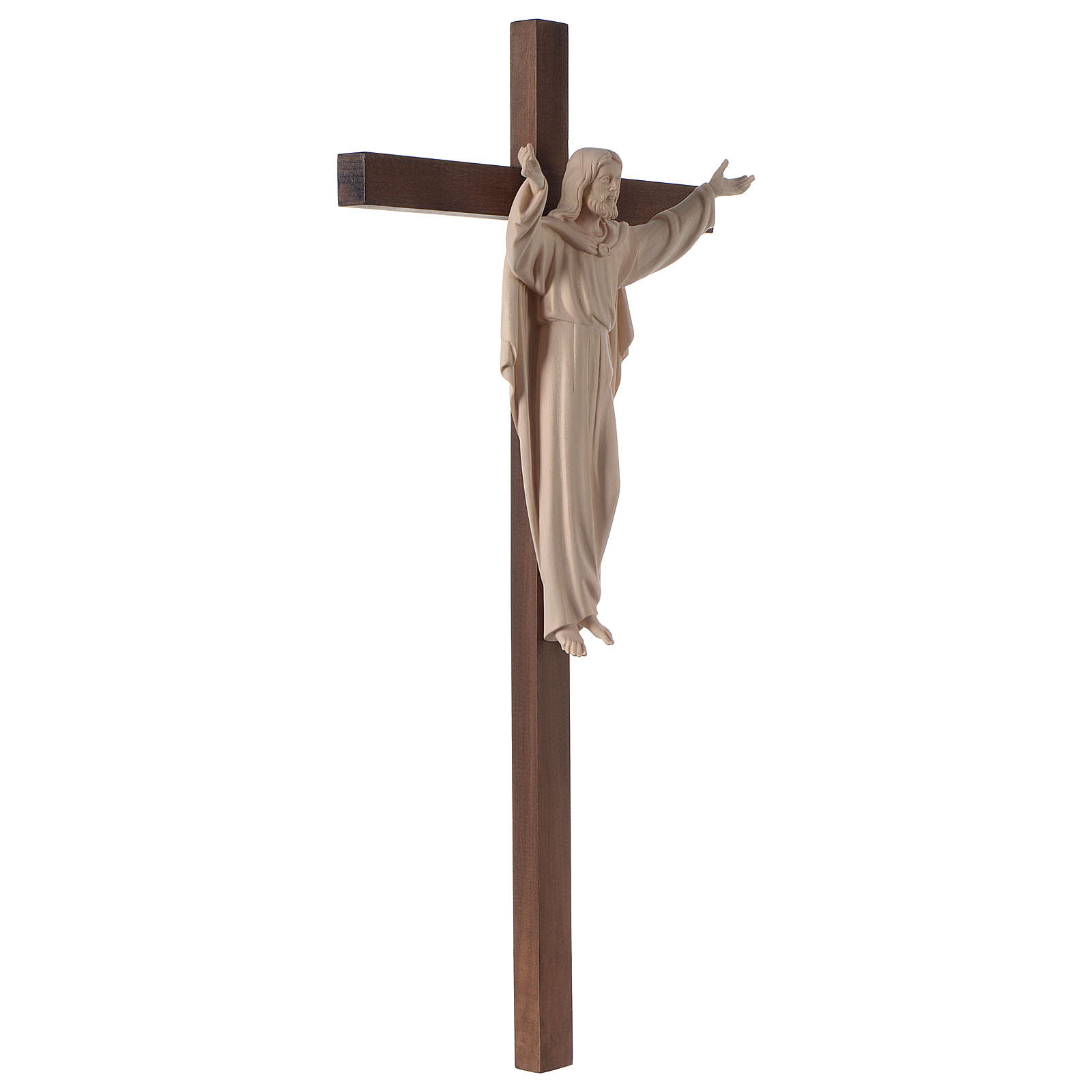 Resurrected Jesus Christ statue in natural wood on cross 4