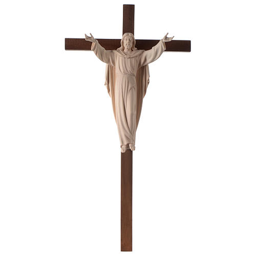 Resurrected Jesus Christ statue in natural wood on cross 1