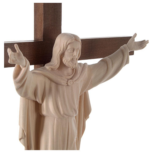 Resurrected Jesus Christ statue in natural wood on cross 2