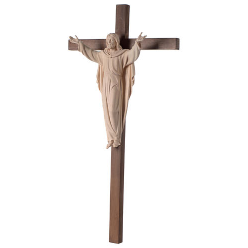 Resurrected Jesus Christ statue in natural wood on cross 3