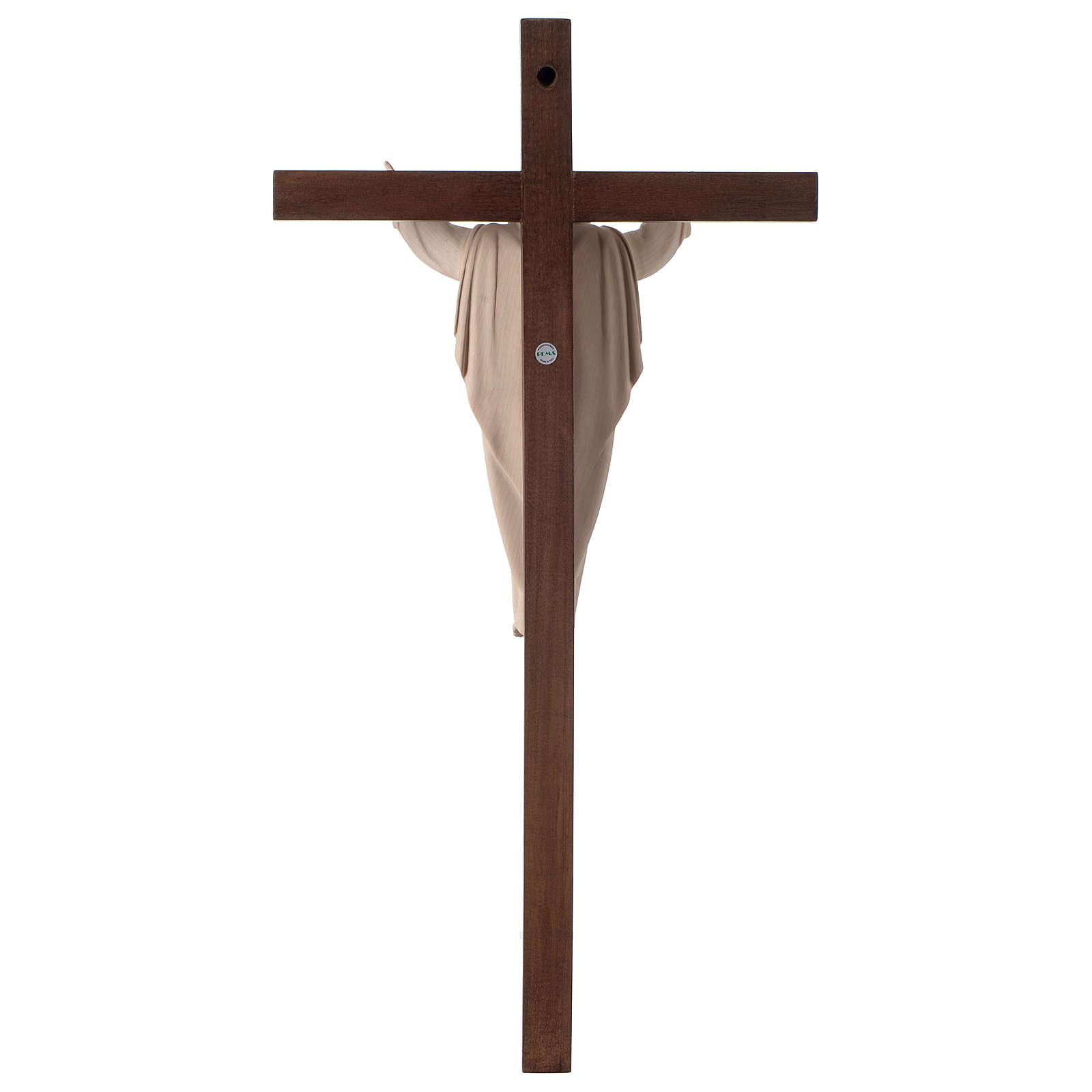 Estatua Cristo Resucitado madera natural en cruz 4