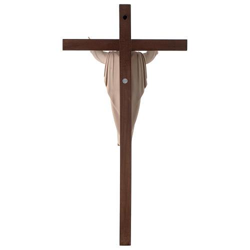 Statue Christ Ressuscité bois naturel sur croix 5