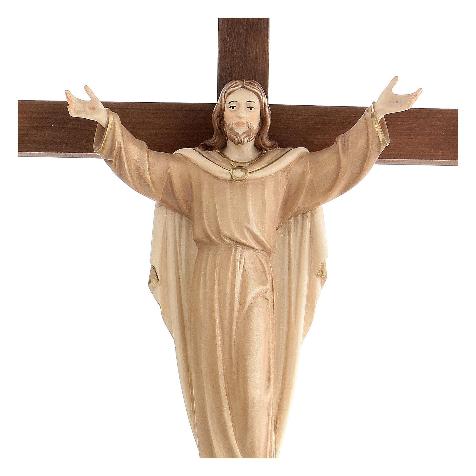 Statue Christ Ressuscité sur croix bruni 3 tons 4