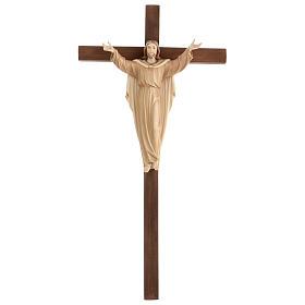 Statue Christ Ressuscité sur croix bruni 3 tons s1