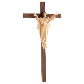 Statue Christ Ressuscité sur croix bruni 3 tons s4