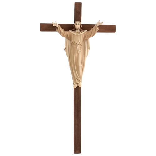 Statue Christ Ressuscité sur croix bruni 3 tons 1
