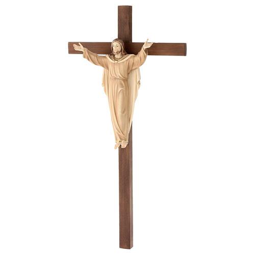 Statue Christ Ressuscité sur croix bruni 3 tons 3