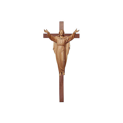 Resurrected Jesus Christ statue on cross burnished in 3 colours 1