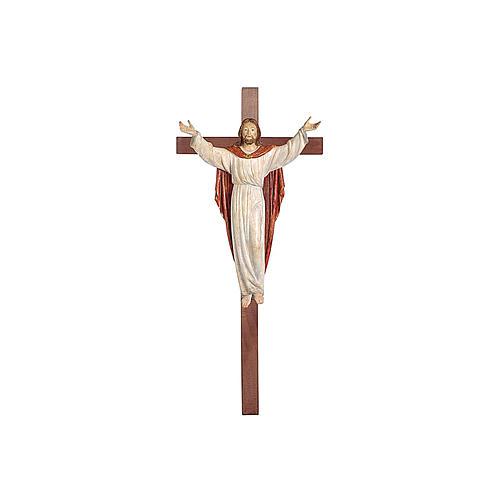Statue Christ Ressuscité or massif vieilli sur croix 1