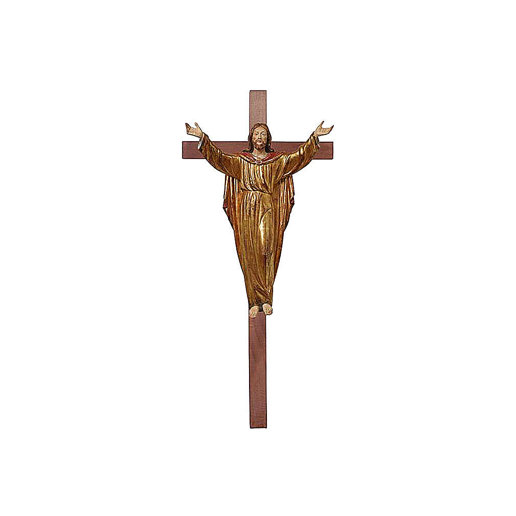 Resurrected Jesus Christ statue on cross with antique pure gold mantle 4