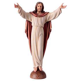 Statues en bois peint: Statue Christ Ressuscité sur base coloré