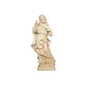 Imágenes de madera natural: Sagrado Corazón Jesús realista madera natural Val Gardena