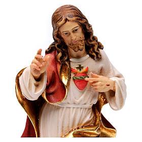 Sagrado Corazón Jesús coloreado Val Gardena realístico s2
