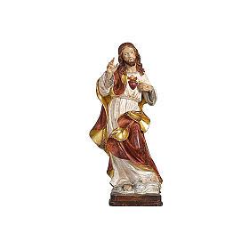 Statues en bois peint: Sacré-Coeur Jésus or massif vieilli réaliste