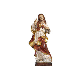 Hand painted wooden statues: Sacred Heart of Jesus in antique pure gold realistic style