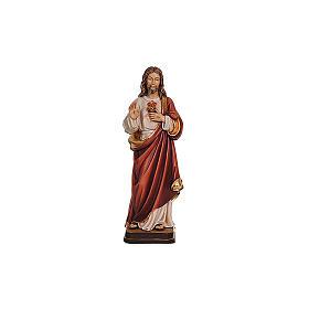 Statues en bois peint: Sacré-Coeur Jésus peinture à l'huile