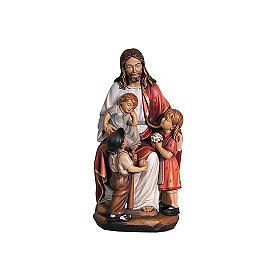 Statues en bois peint: Jésus avec enfants coloré Val Gardena