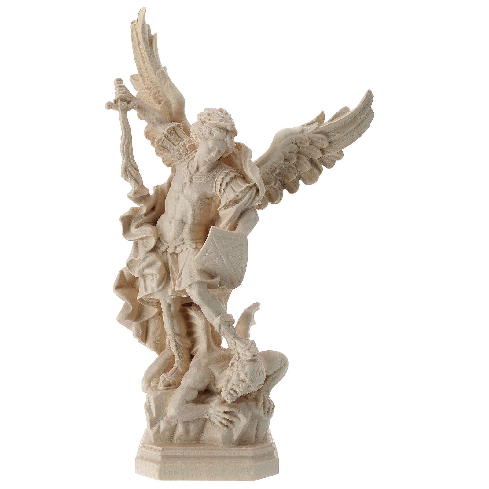 Saint Micheal of G. Reni in natural wood 4