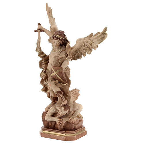 Saint Micheal of G. Reni statue burnished in 3 colours 3