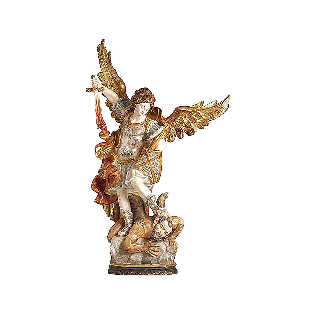 Saint Micheal of G. Reni finished in antique pure gold 4