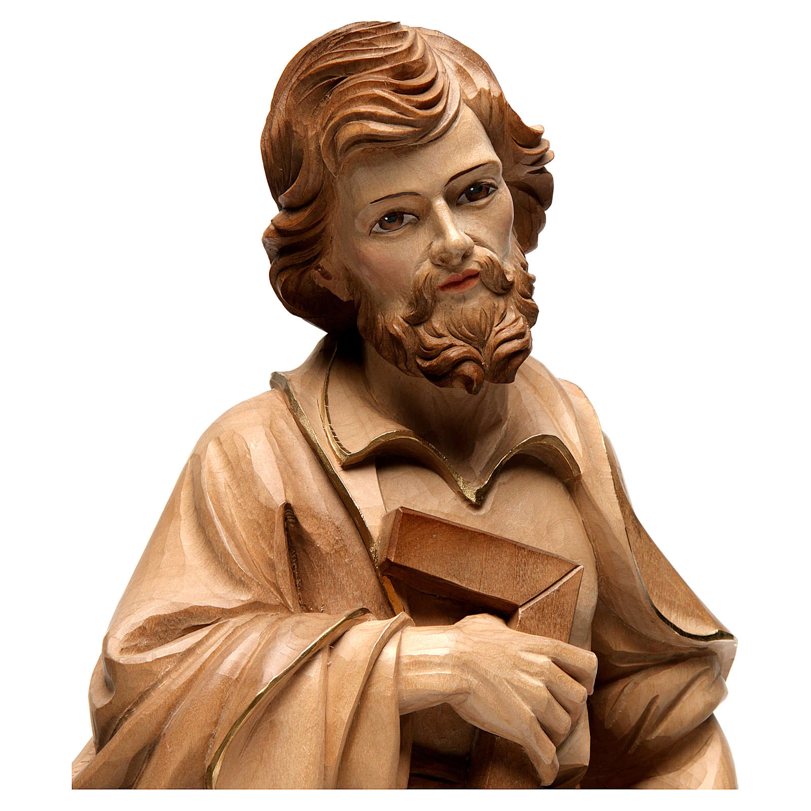 Saint Joseph the artisan statue burnished in 3 colours 4