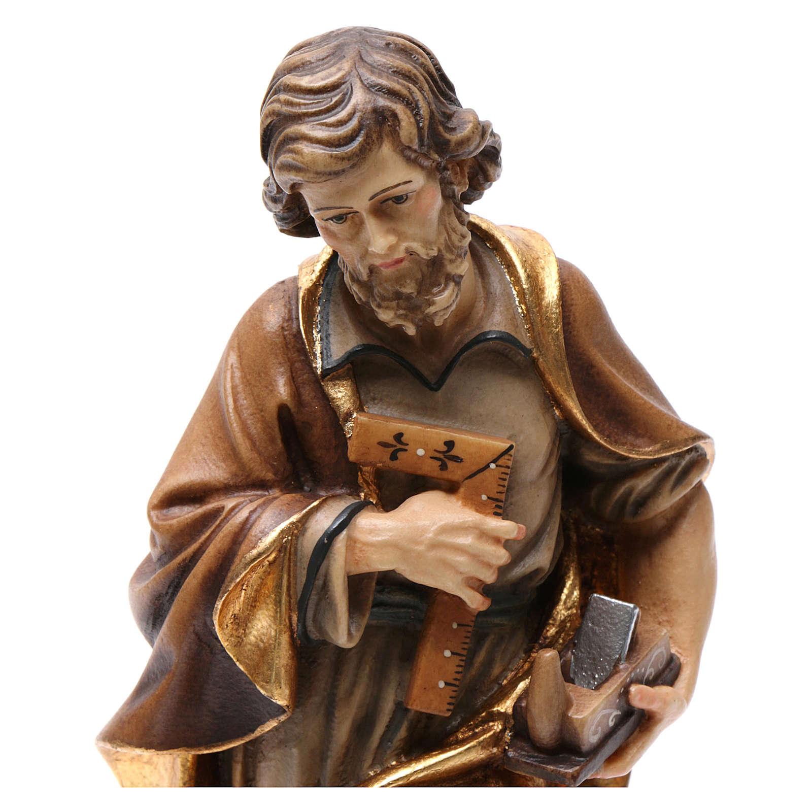 Statue Hl. Josef bemalten Grödnertal Holz 4
