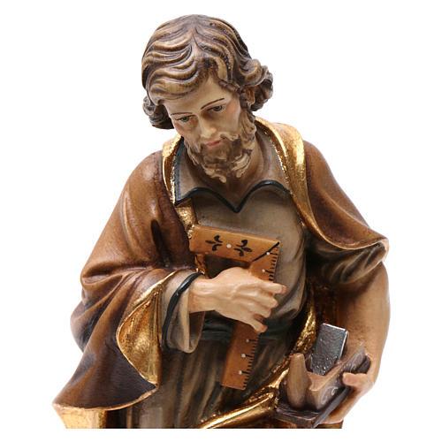 Statue Hl. Josef bemalten Grödnertal Holz 2