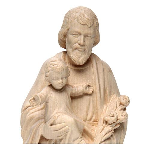 Hl. Josef mit Kind Grödnertal Holz Natur Finish 2