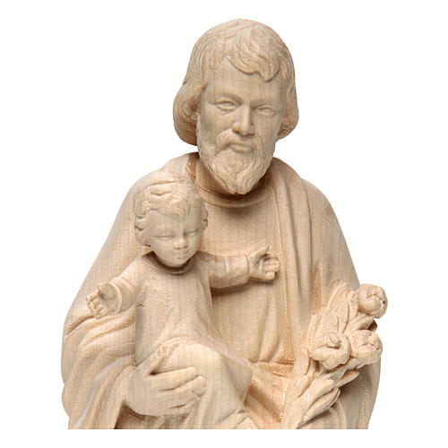 Saint Joseph with Baby Jesus statue in realistic natural wood 2