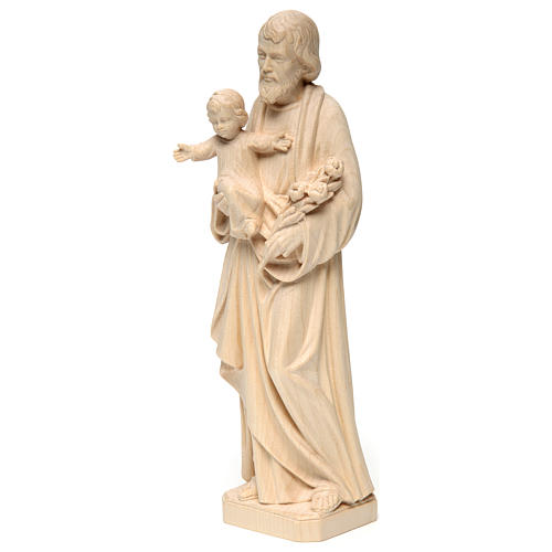 Saint Joseph with Baby Jesus statue in realistic natural wood 3