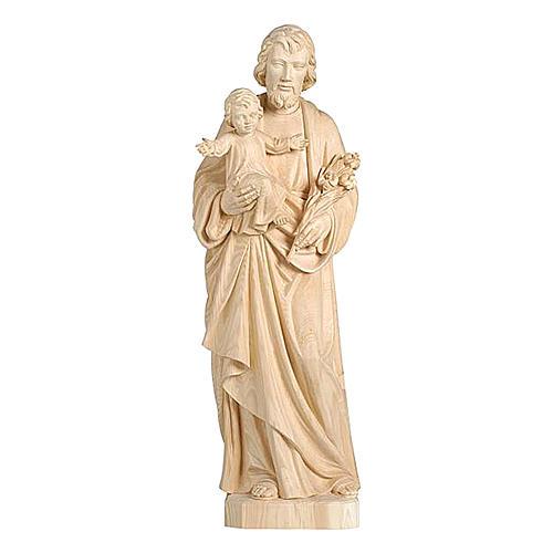 San Giuseppe con Bambino realistico legno naturale 1