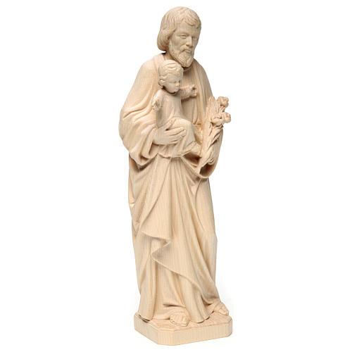 San Giuseppe con Bambino realistico legno naturale 4