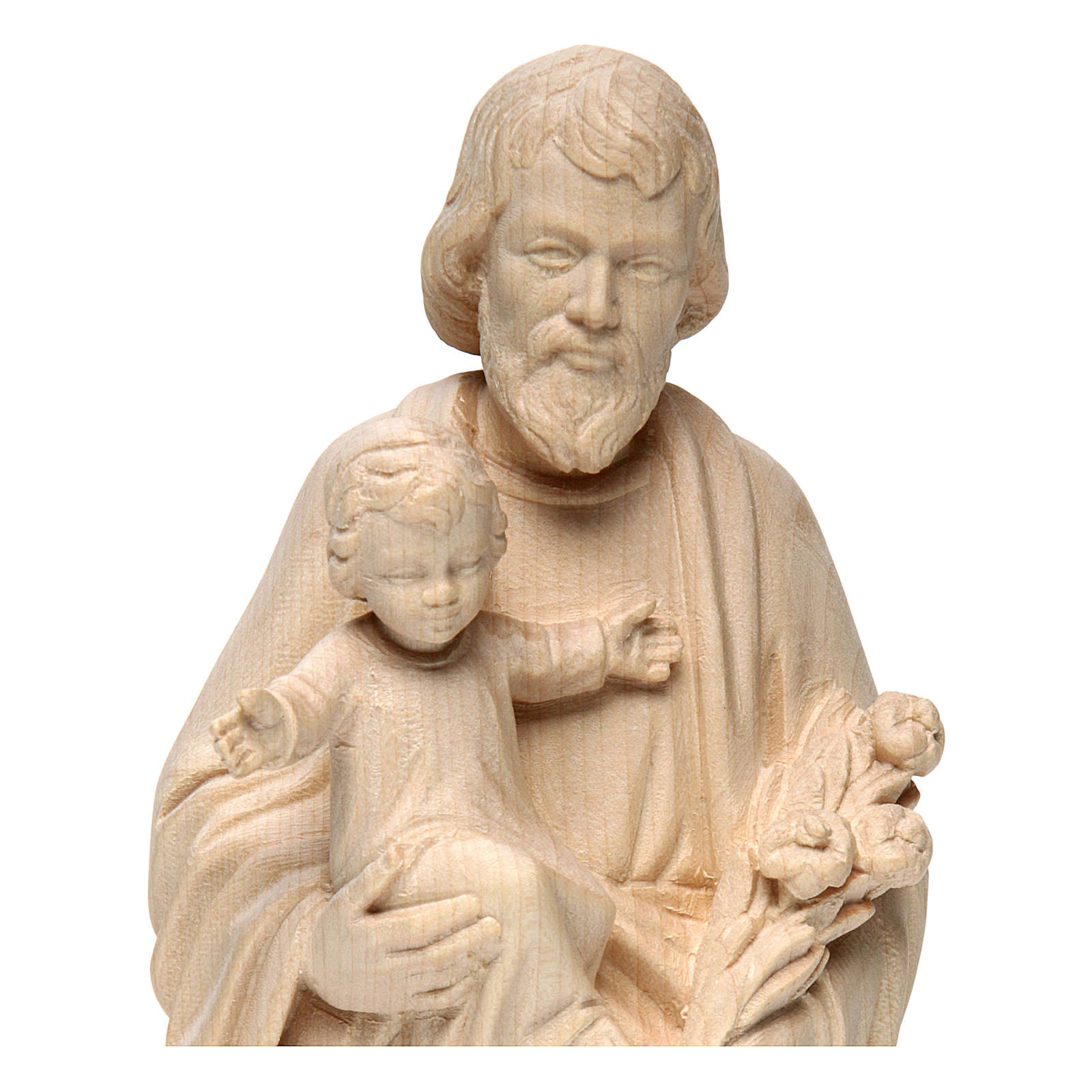Saint Joseph with Baby Jesus statue in realistic natural wood 4