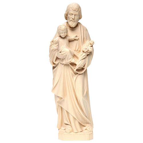 Saint Joseph with Baby Jesus statue in realistic natural wood 1