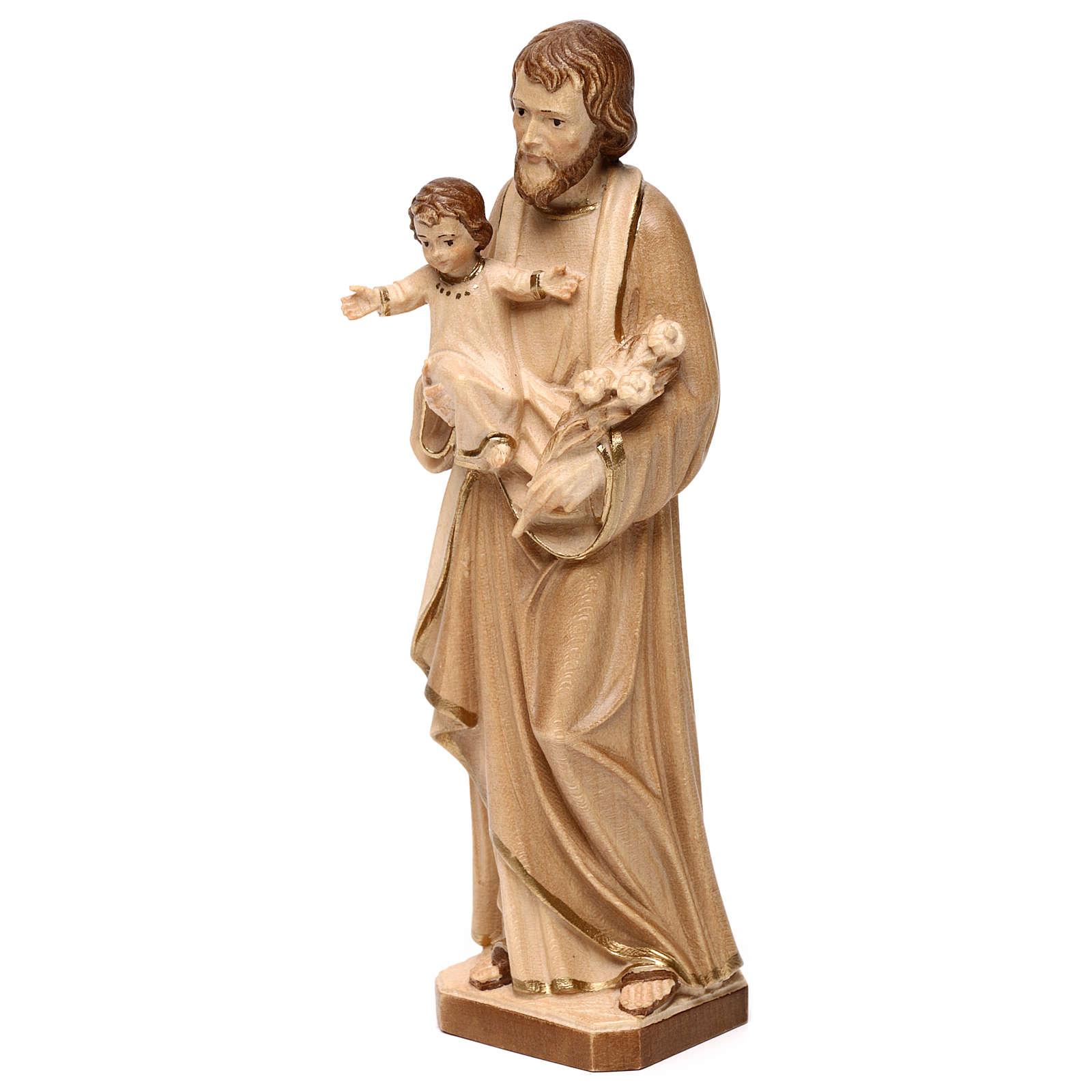 Hl. Josef mit Kind Grödnertal Holz braunfarbig 4