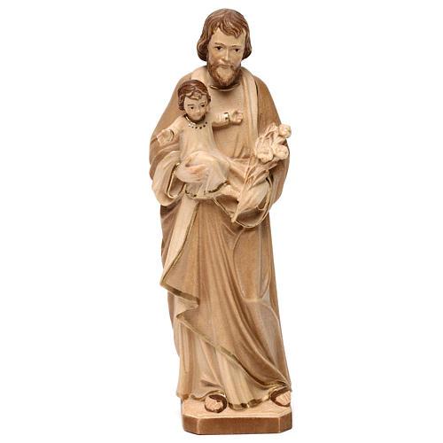 Hl. Josef mit Kind Grödnertal Holz braunfarbig 1