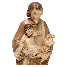 Saint Joseph with Baby Jesus statue burnished in three colours realistic style s2