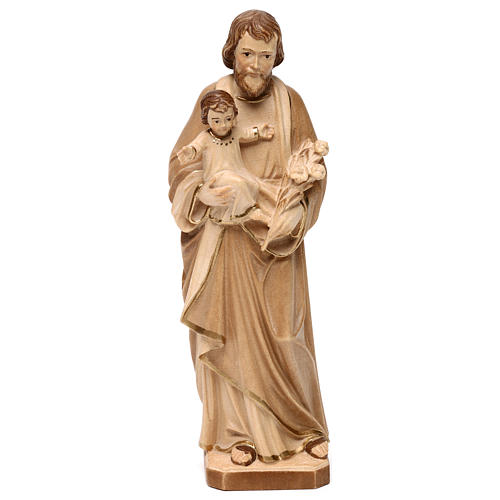 Saint Joseph with Baby Jesus statue burnished in three colours realistic style 1