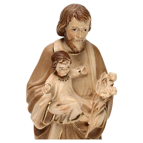 Saint Joseph with Baby Jesus statue burnished in three colours realistic style 2