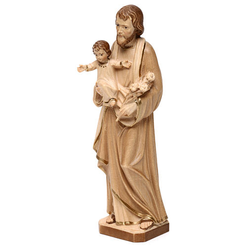 Saint Joseph with Baby Jesus statue burnished in three colours realistic style 3