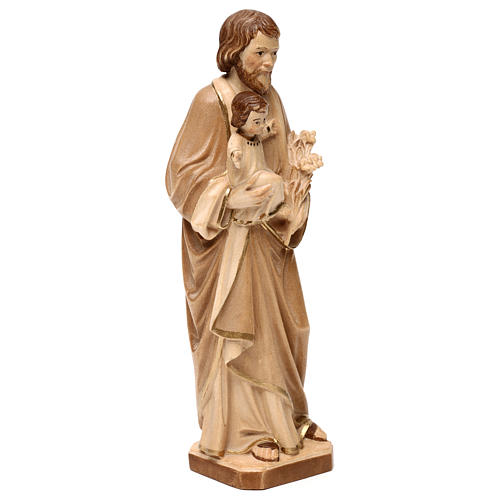 Saint Joseph with Baby Jesus statue burnished in three colours realistic style 4