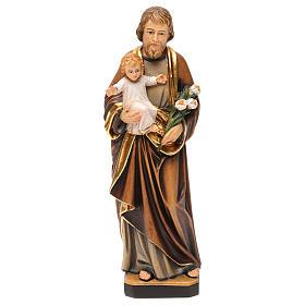 Statues en bois peint: Statue Saint Joseph avec Enfant colorée réaliste