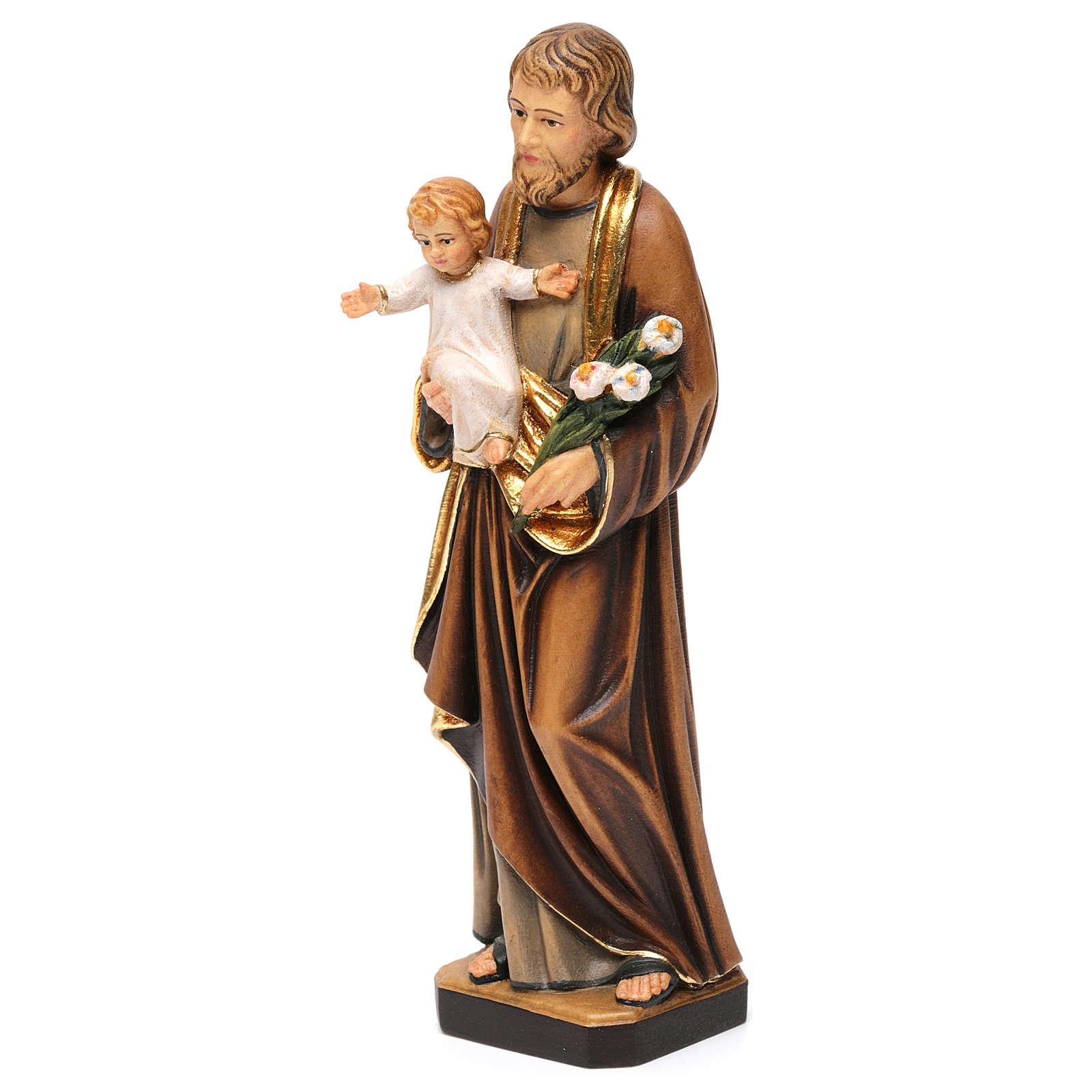 Statua San Giuseppe con Bambino colorato realistico 4