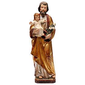 Imágenes de Madera Pintada: San José con Niño realístico oro de tíbar antiguo Val Gardena