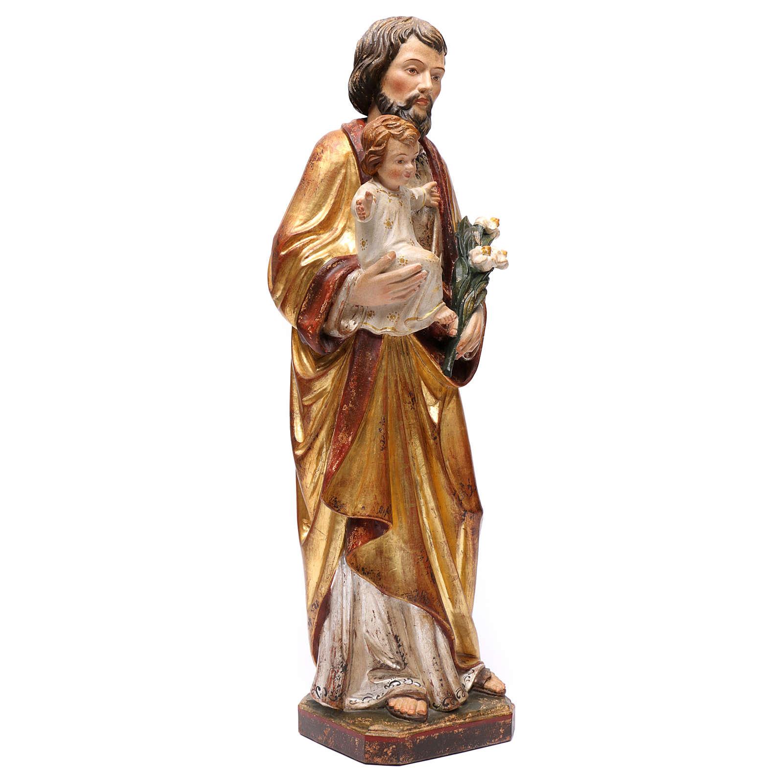 Saint Joseph avec Enfant réaliste or massif vieilli Val Gardena 4