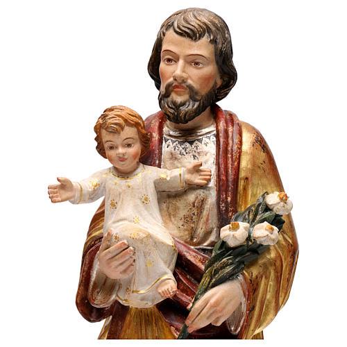 Saint Joseph avec Enfant réaliste or massif vieilli Val Gardena 2