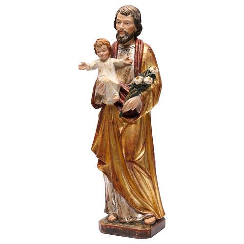Saint Joseph avec Enfant réaliste or massif vieilli Val Gardena 3