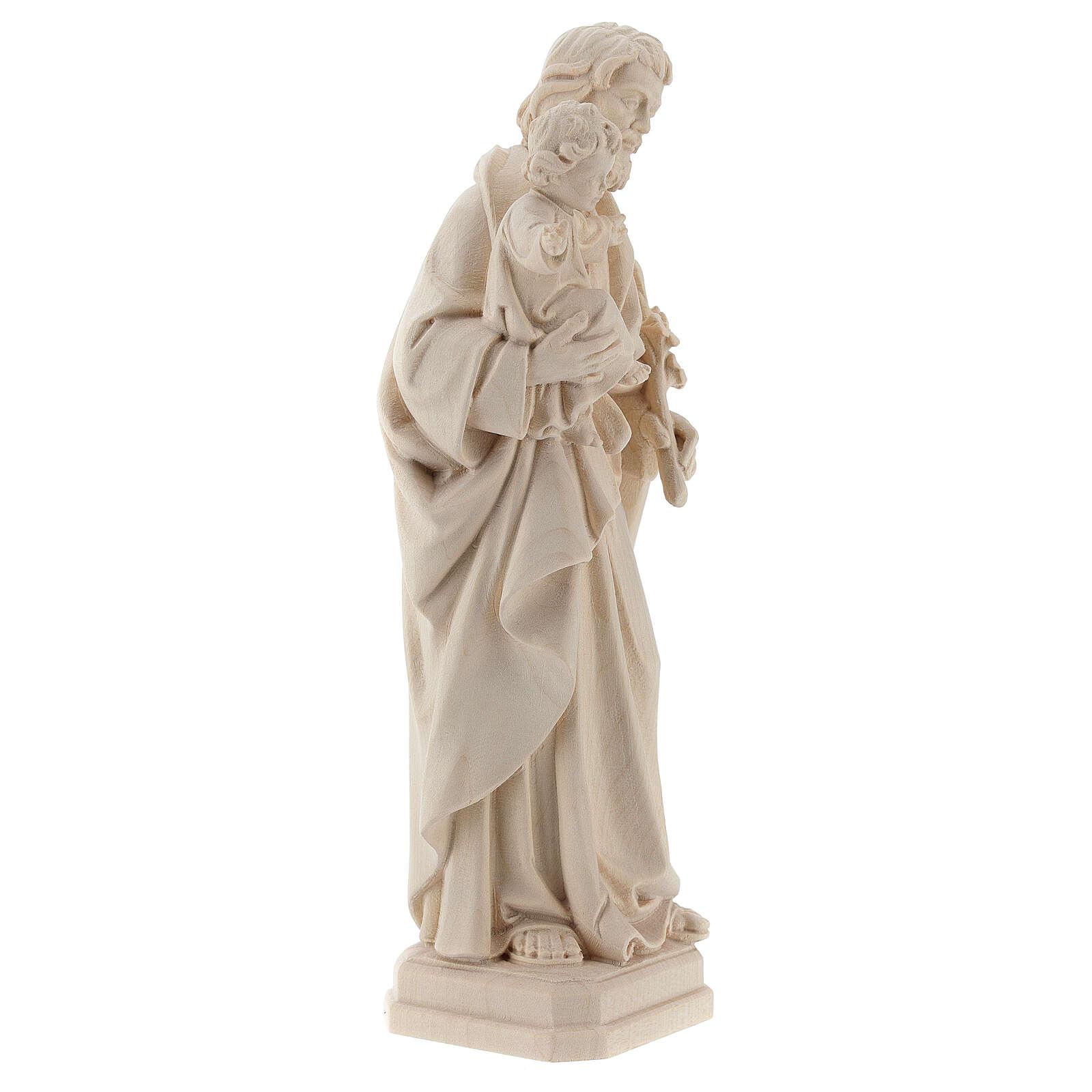 Statue Hl. Josef mit Jesus Kind Grödnertal Naturholz 4