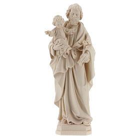 Statue Hl. Josef mit Jesus Kind Grödnertal Naturholz s1